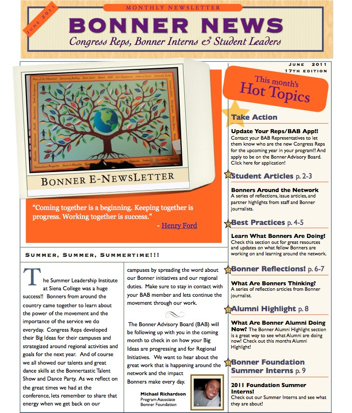 The Bonner Network Wiki / Monthly Student Newsletter