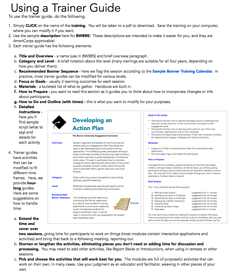 The Bonner Network Wiki Using a Trainer Guide – Sample Training Calendar